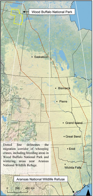Map of Whooping Crane Range