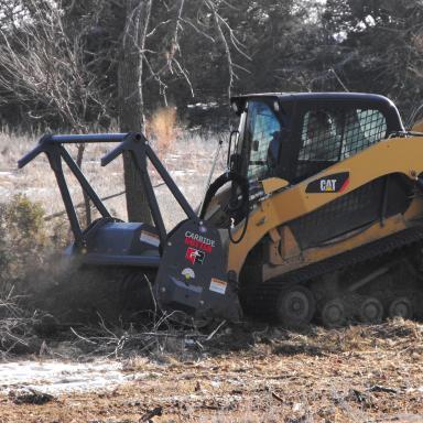 Image of equipment shredding trees