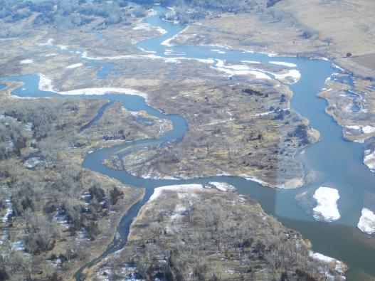 Aerial view of the Platte River